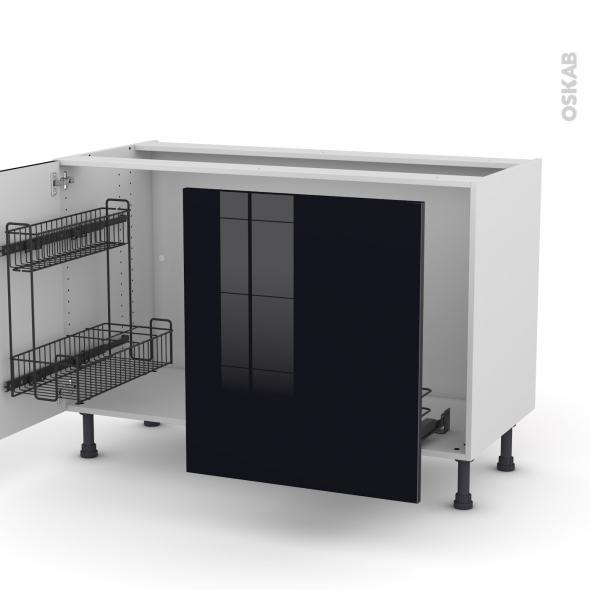 KERIA Noir - Meuble sous-évier - 2 portes lessiviel-poubelle coulissante - L120xH70xP58