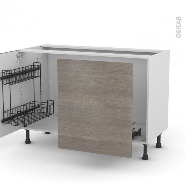 Meuble de cuisine - Sous évier - STILO Noyer Naturel - 2 portes lessiviel coulissante - L120 x H70 x P58 cm