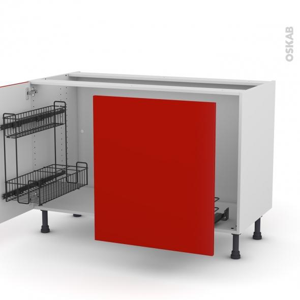 GINKO Rouge - Meuble sous-évier - 2 portes lessiviel-poubelle coulissante - L120xH70xP58