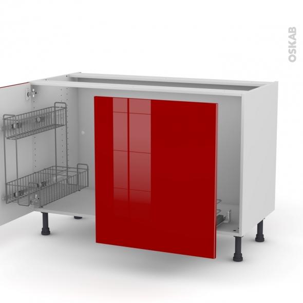 STECIA Rouge - Meuble sous-évier - 2 portes lessiviel-poubelle coulissante - L120xH70xP58