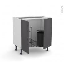 Meuble de cuisine - Sous évier - GINKO Gris - 2 portes lessiviel poubelle ronde - L80 x H70 x P58 cm