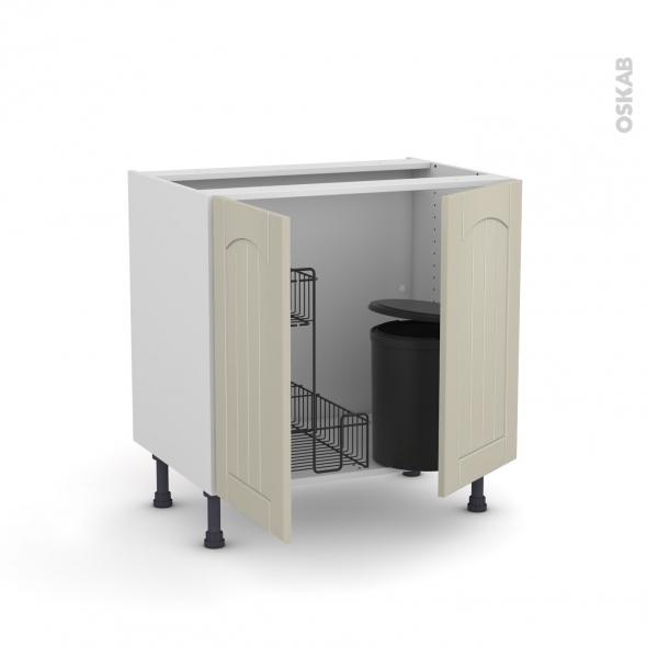 SILEN Argile - Meuble sous-évier - 2 portes lessiviel-poubelle ronde - L80xH70xP58