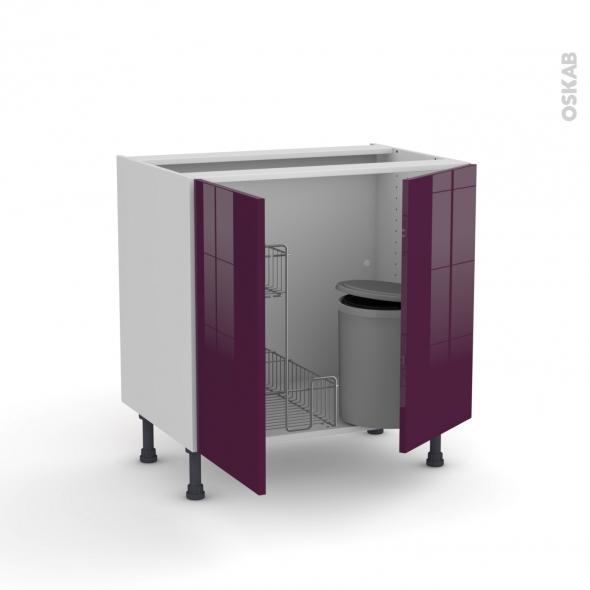 KERIA Aubergine - Meuble sous-évier - 2 portes lessiviel-poubelle ronde - L80xH70xP58