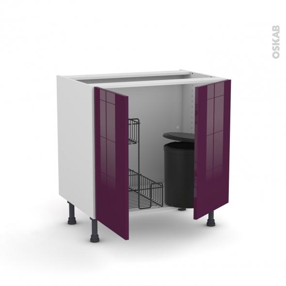 Meuble de cuisine - Sous évier - KERIA Aubergine - 2 portes lessiviel poubelle ronde - L80 x H70 x P58 cm
