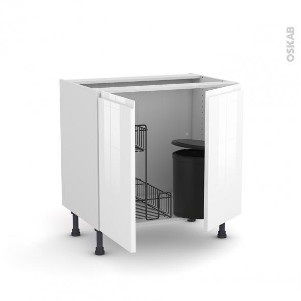 Meuble de cuisine - Sous évier - IPOMA Blanc - 2 portes lessiviel poubelle ronde - L80 x H70 x P58 cm