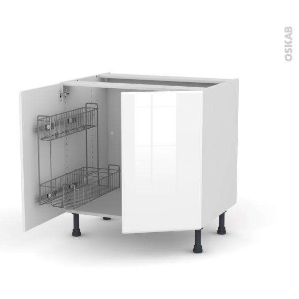 IRIS Blanc - Meuble sous-évier - 2 portes lessiviel-poubelle ronde - L80xH70xP58