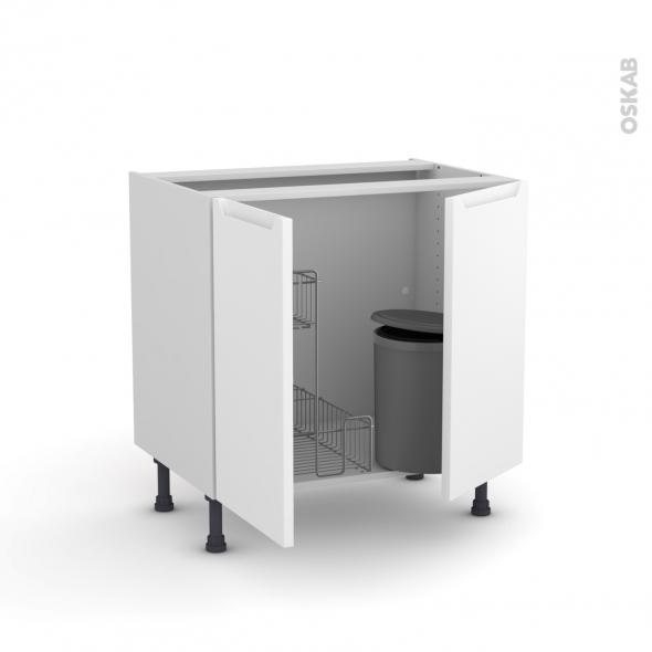 PIMA Blanc - Meuble sous-évier - 2 portes lessiviel-poubelle ronde - L80xH70xP58