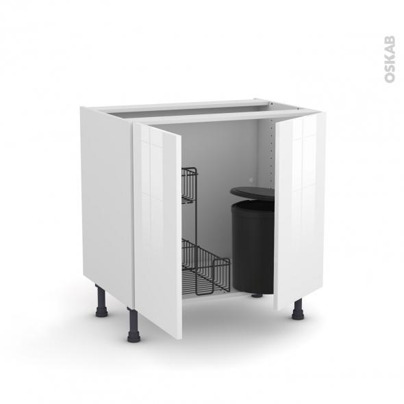 Meuble de cuisine - Sous évier - STECIA Blanc - 2 portes lessiviel poubelle ronde - L80 x H70 x P58 cm
