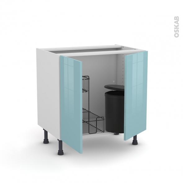 Meuble de cuisine - Sous évier - KERIA Bleu - 2 portes lessiviel poubelle ronde - L80 x H70 x P58 cm