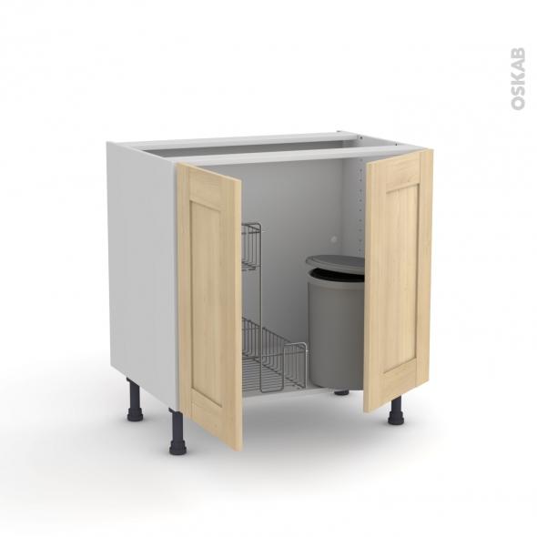 BETULA Bouleau - Meuble sous-évier - 2 portes lessiviel-poubelle ronde - L80xH70xP58
