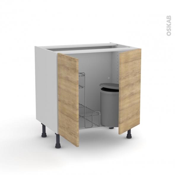 HOSTA Chêne naturel - Meuble sous-évier - 2 portes lessiviel-poubelle ronde - L80xH70xP58