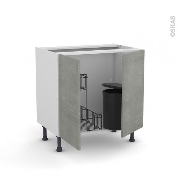 Meuble de cuisine - Sous évier - FAKTO Béton - 2 portes lessiviel poubelle ronde - L80 x H70 x P58 cm