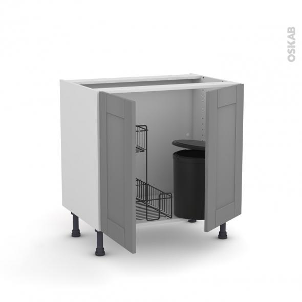 Meuble de cuisine - Sous évier - FILIPEN Gris - 2 portes lessiviel poubelle ronde - L80 x H70 x P58 cm