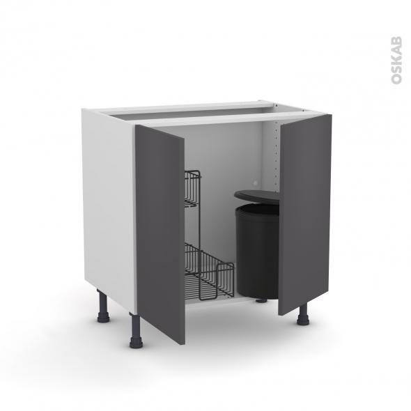 GINKO Gris - Meuble sous-évier - 2 portes lessiviel-poubelle ronde - L80xH70xP58