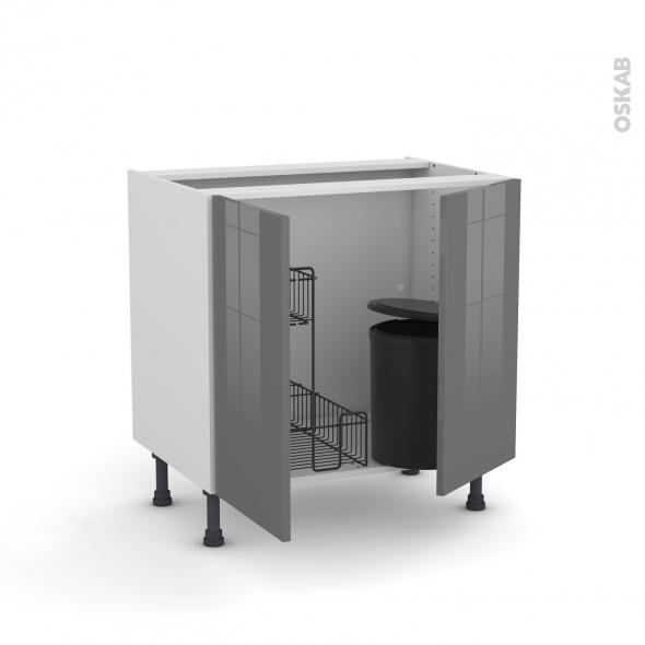 Meuble de cuisine - Sous évier - STECIA Gris - 2 portes lessiviel poubelle ronde - L80 x H70 x P58 cm