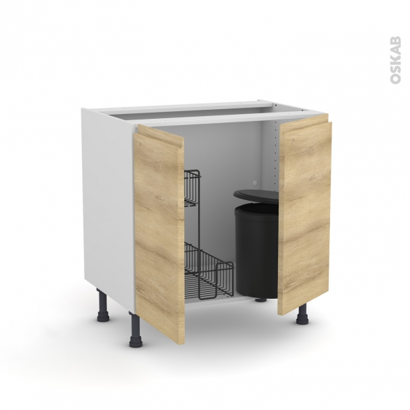Meuble de cuisine - Sous évier - IPOMA Chêne naturel - 2 portes lessiviel poubelle ronde - L80 x H70 x P58 cm