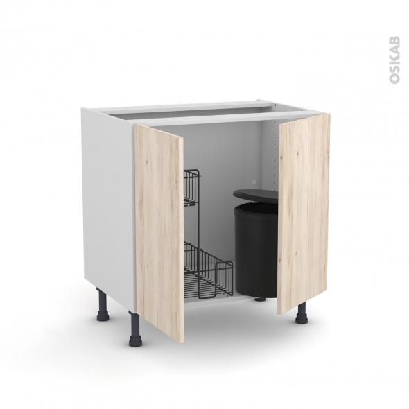 Meuble de cuisine - Sous évier - IKORO Chêne clair - 2 portes lessiviel poubelle ronde - L80 x H70 x P58 cm