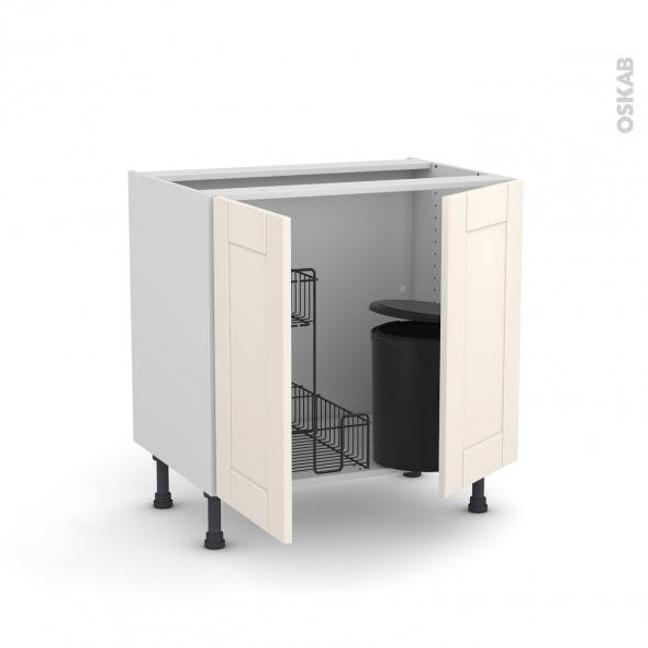 Meuble de cuisine - Sous évier - FILIPEN Ivoire - 2 portes lessiviel poubelle ronde - L80 x H70 x P58 cm