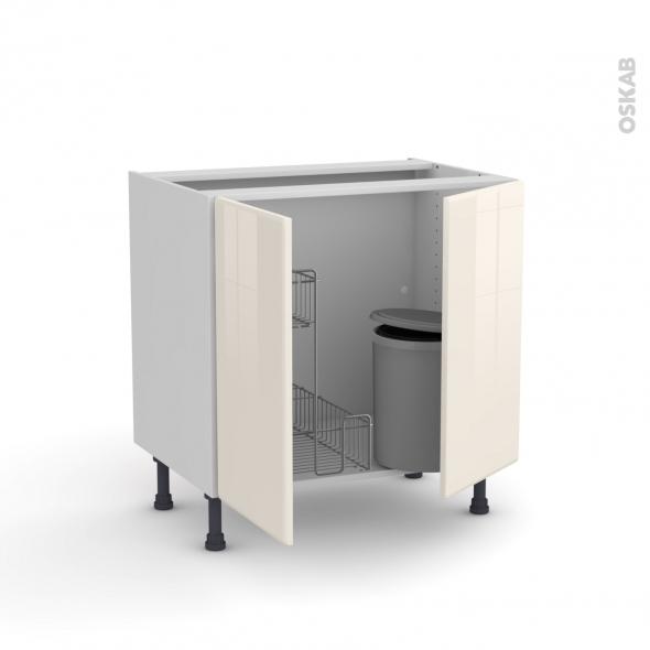 IRIS Ivoire - Meuble sous-évier - 2 portes lessiviel-poubelle ronde - L80xH70xP58