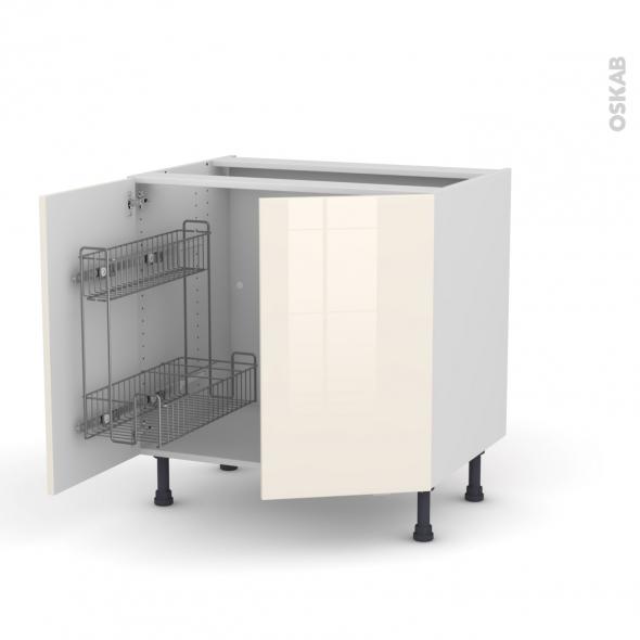 KERIA Ivoire - Meuble sous-évier - 2 portes lessiviel-poubelle ronde - L80xH70xP58