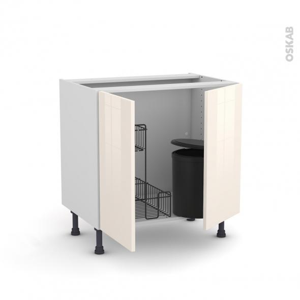Meuble de cuisine - Sous évier - KERIA Ivoire - 2 portes lessiviel poubelle ronde - L80 x H70 x P58 cm