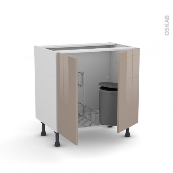 KERIA Moka - Meuble sous-évier - 2 portes lessiviel-poubelle ronde - L80xH70xP58