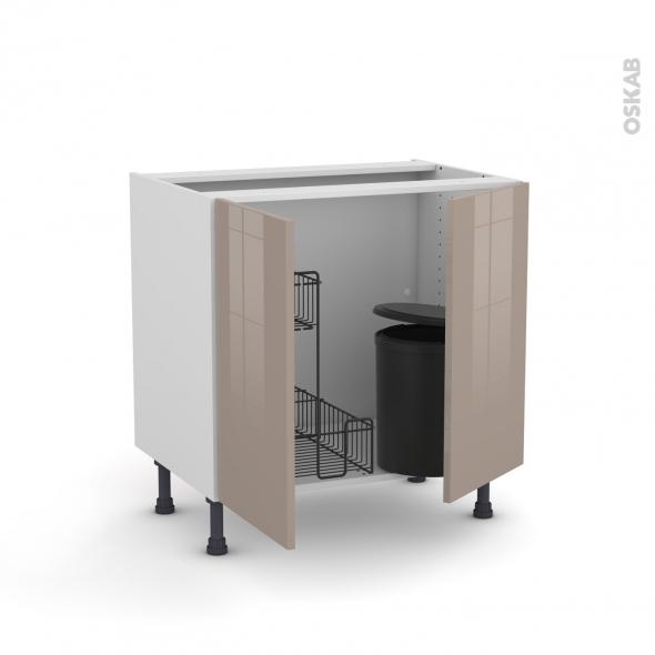 Meuble de cuisine - Sous évier - KERIA Moka - 2 portes lessiviel poubelle ronde - L80 x H70 x P58 cm