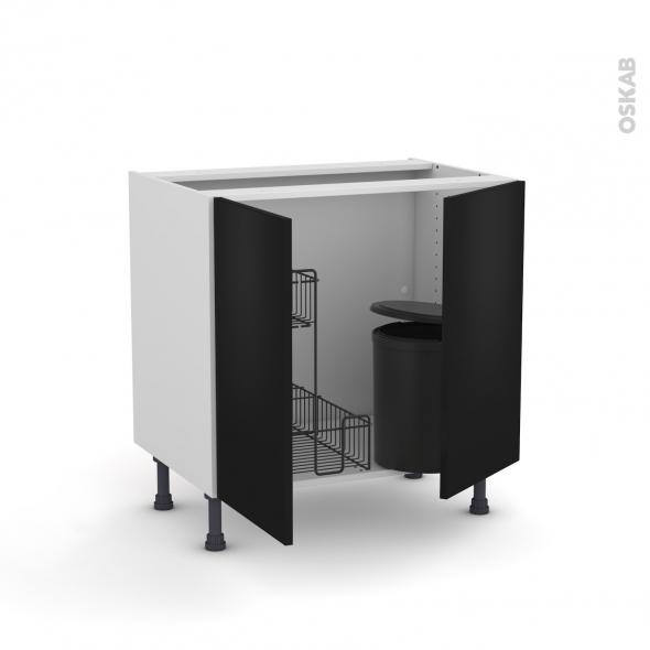 Meuble de cuisine - Sous évier - GINKO Noir - 2 portes lessiviel poubelle ronde - L80 x H70 x P58 cm
