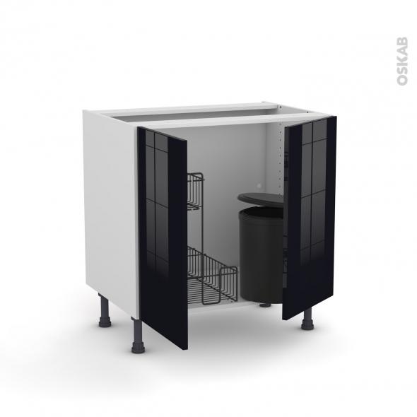 Meuble de cuisine - Sous évier - KERIA Noir - 2 portes lessiviel poubelle ronde - L80 x H70 x P58 cm