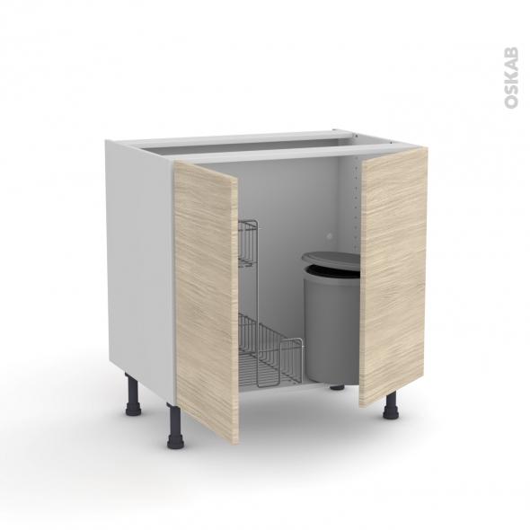 STILO Noyer Blanchi - Meuble sous-évier - 2 portes lessiviel-poubelle ronde - L80xH70xP58
