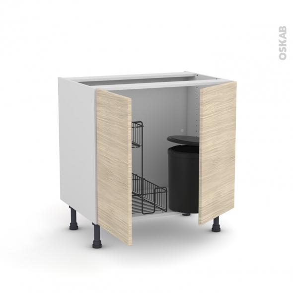 Meuble de cuisine - Sous évier - STILO Noyer Blanchi - 2 portes lessiviel poubelle ronde - L80 x H70 x P58 cm