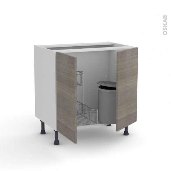 STILO Noyer Naturel - Meuble sous-évier - 2 portes lessiviel-poubelle ronde - L80xH70xP58
