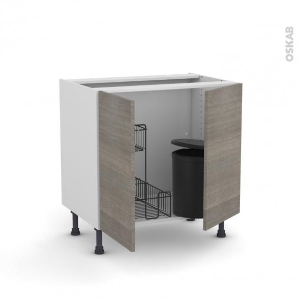 Meuble de cuisine - Sous évier - STILO Noyer Naturel - 2 portes lessiviel poubelle ronde - L80 x H70 x P58 cm