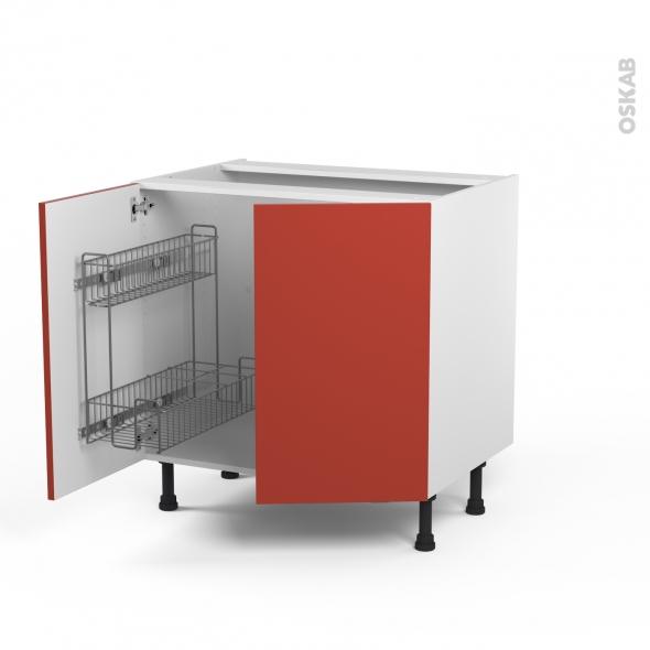 HELIO Rouge - Meuble sous-évier - 2 portes lessiviel-poubelle ronde - L80xH70xP58