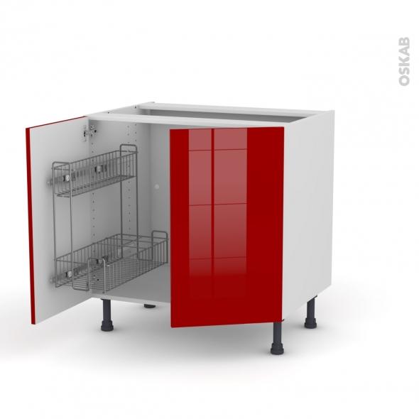 STECIA Rouge - Meuble sous-évier - 2 portes lessiviel-poubelle ronde - L80xH70xP58