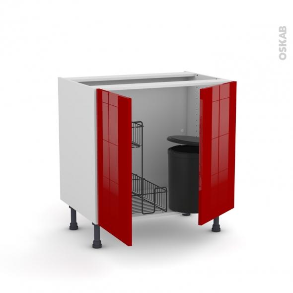 Meuble de cuisine - Sous évier - STECIA Rouge - 2 portes lessiviel poubelle ronde - L80 x H70 x P58 cm