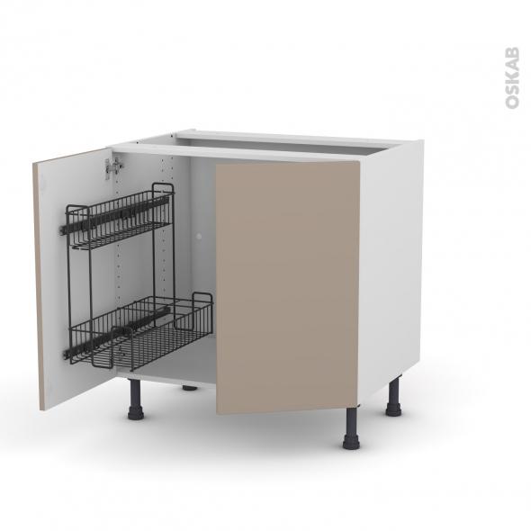 Meuble de cuisine - Sous évier - GINKO Taupe - 2 portes lessiviel poubelle ronde - L80 x H70 x P58 cm