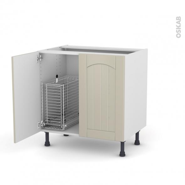 SILEN Argile - Meuble sous-évier - 2 portes rangement coulissant sécurité enfant - L80xH70xP58