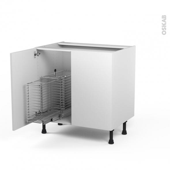 GINKO Blanc - Meuble sous-évier - 2 portes rangement coulissant sécurité enfant - L80xH70xP58