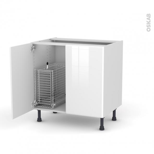 IRIS Blanc - Meuble sous-évier - 2 portes rangement coulissant sécurité enfant - L80xH70xP58