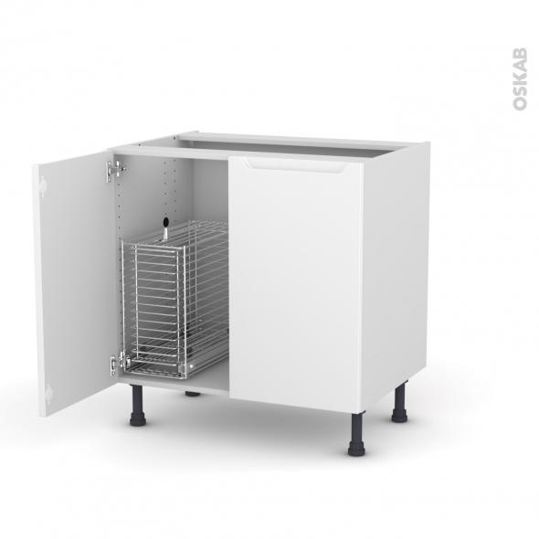PIMA Blanc - Meuble sous-évier - 2 portes rangement coulissant sécurité enfant - L80xH70xP58