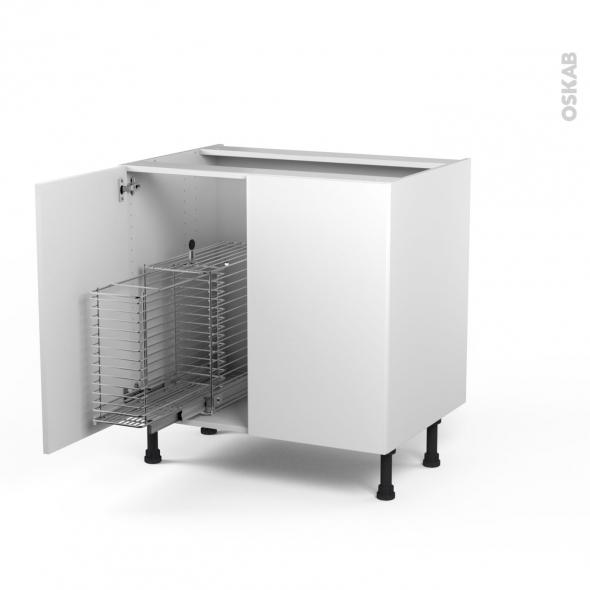 STECIA Blanc - Meuble sous-évier - 2 portes rangement coulissant sécurité enfant - L80xH70xP58