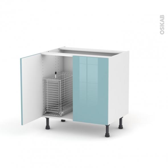 KERIA Bleu - Meuble sous-évier - 2 portes rangement coulissant sécurité enfant - L80xH70xP58