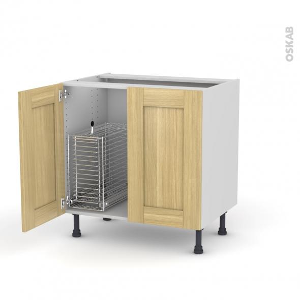 BASILIT Bois brut - Meuble sous-évier - 2 portes rangement coulissant sécurité enfant - L80xH70xP58