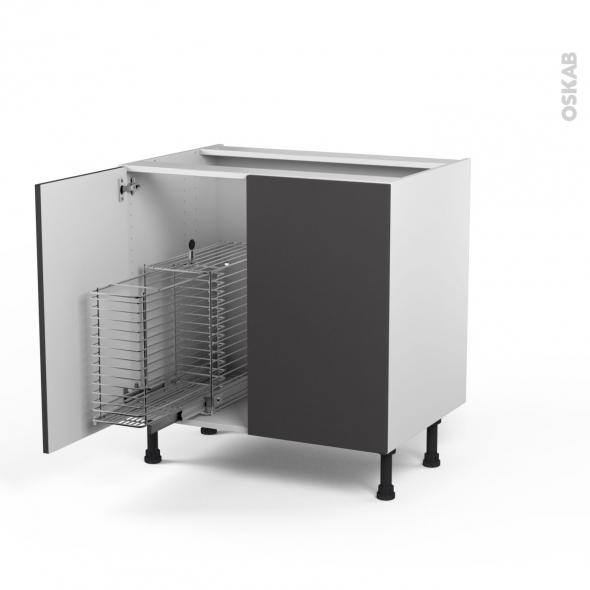 GINKO Gris - Meuble sous-évier - 2 portes rangement coulissant sécurité enfant - L80xH70xP58