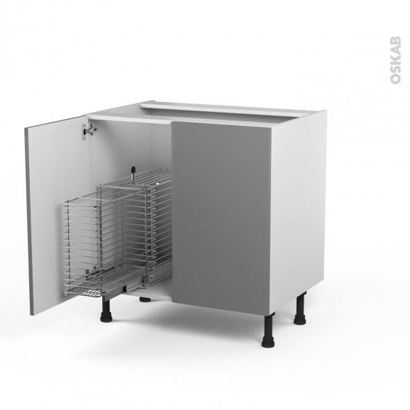 STECIA Gris - Meuble sous-évier - 2 portes rangement coulissant sécurité enfant - L80xH70xP58