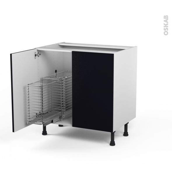 GINKO Noir - Meuble sous-évier - 2 portes rangement coulissant sécurité enfant - L100xH70xP58