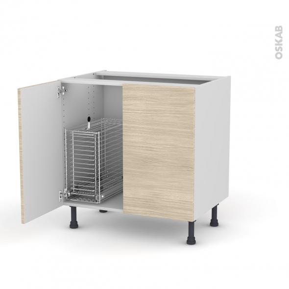 STILO Noyer blanchi - Meuble sous-évier - 2 portes rangement coulissant sécurité enfant - L80xH70xP58