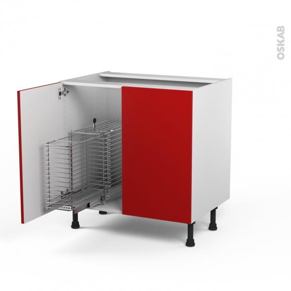 GINKO Rouge - Meuble sous-évier - 2 portes rangement coulissant sécurité enfant - L80xH70xP58