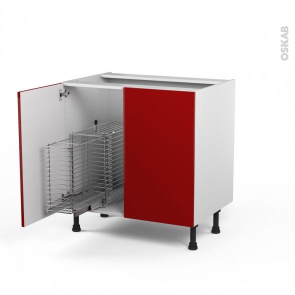 STECIA Rouge - Meuble sous-évier - 2 portes rangement coulissant sécurité enfant - L80xH70xP58